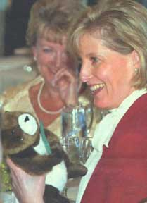 Sophie Rhys-Jones holds a stuffed toy Marmot, a gift for her daughter from Lt.-Gov. Iona Campagnolo. The Countess of Wessex received the plush marmot, an island icon, at Governor House where she and her husband, Prince Edward, had lunch.