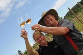 Susan and Jeff Vandermolen of Beaufort Winery opened on May 30, 2008. They are shown here tasting their silver-medal-winning Pinot Gris.