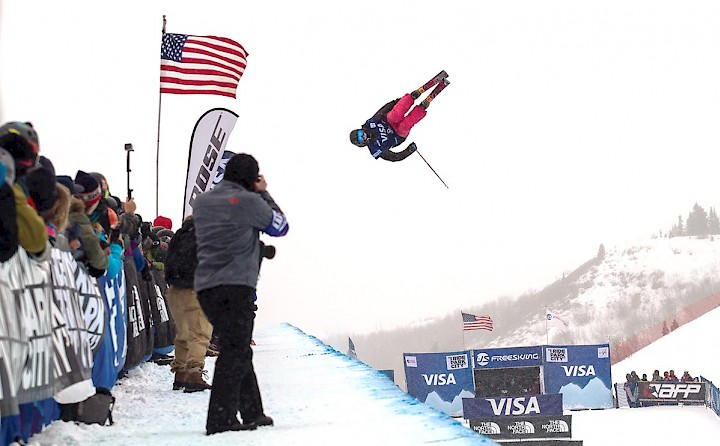 Cassie Sharpe shown competing in the US Freestyle Competion.