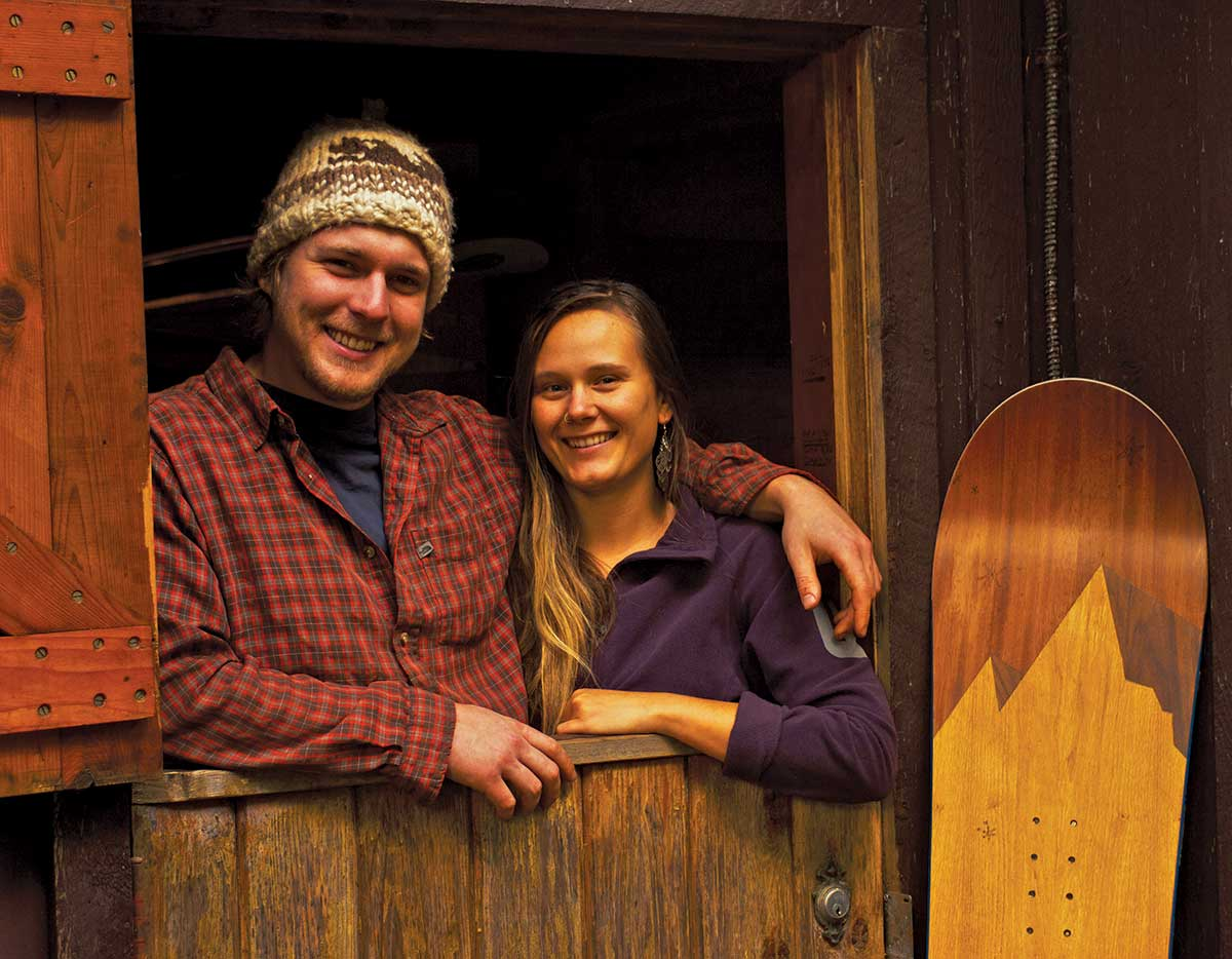 Kindred Snowboards owners Angie Farquharson and Evan Fair.